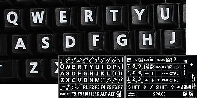 English Us Keyboard Sticker Large White Letters Black Background-Computer Laptop