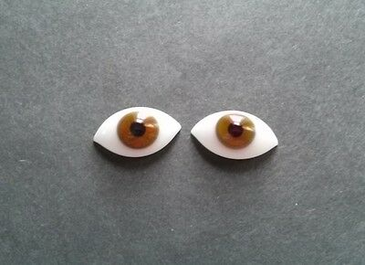 1 Pair Vintage 19mm Brown German Hand Blown pinch Back Oval Glass Doll eyes