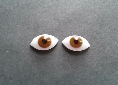1 Pair Vintage 20mm Brown German Hand Blown pinch Back Oval Glass Doll eyes
