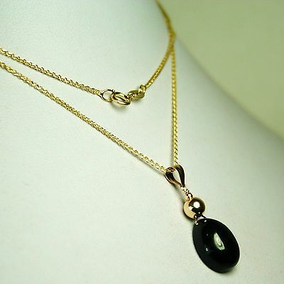 14K solid yellow gold pear shape natural  Black Star Sapphire necklace 7.2 tcw
