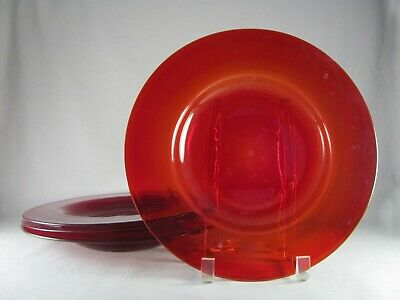 4 Ruby Red Hand Blown Glass Rimmed Soup Salad Bowls, 11""