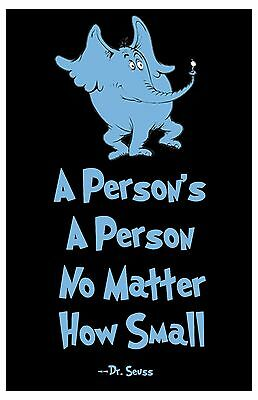 "Dr. Seuss Wall Art Horton Print Home Decor Quote Poster 11x17"" Rare Hot New"