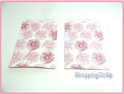 25 -5x7 Pink Flower Print Bags, Retail Paper Gift Bags, Serrated Edge Bags