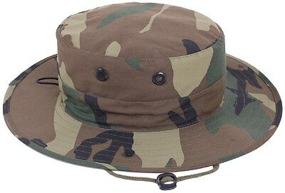 WOODLAND CAMO Tactical Adjustable Military Hunting Combat BOONIE HAT 52558