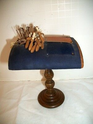 Rare Antique Miniature Lace Making Pillow with Bobbins Leather Pattern on Stand