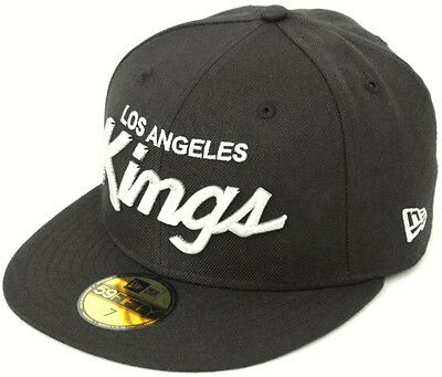 NHL Los Angeles Kings Script New Era 59Fifty Fitted Cap Hat - Black/White