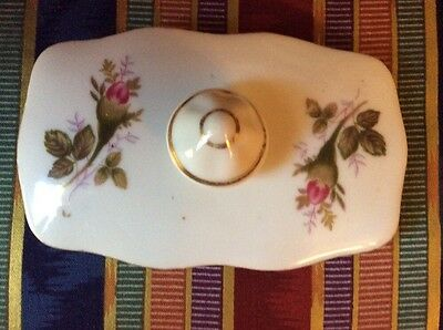 VINTAGE MOSS ROSE REPLACEMENT RECTANGULAR SHAPED LID COVER  COFFEE TEA POT