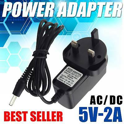 New 5 Volt 2 Amp AC to DC Power Supply Charger Adapter 100 cm Long 3-Pin UK Plug
