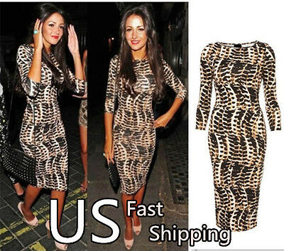 Women Tribal  Celeb Animal Print Long Midi Pencil Ladies Bodycon Dress 082
