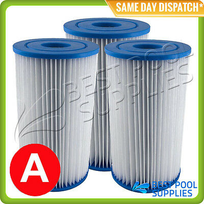 3 X Intex Type A / Krystal Clear Pool Cartridge Filter Element – Free Shipping