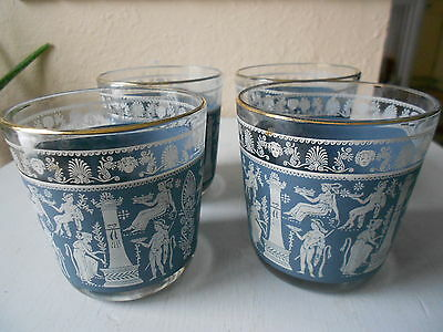 Set of 4 Vintage Blue Corinthian Style Jeanette Drinking Glasses~8 ounce