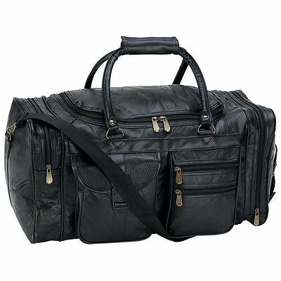 "NEW 21"" Black Pebble Grain Leather Duffle Tote Bag- Gym Carry On Mens Luggage"