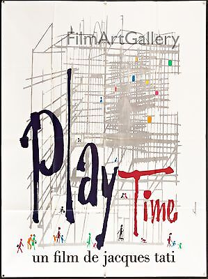 """PLAYTIME/PLAY TIME 1967 Jacques Tati French 47""""x63"""" poster Filmartgallery"""