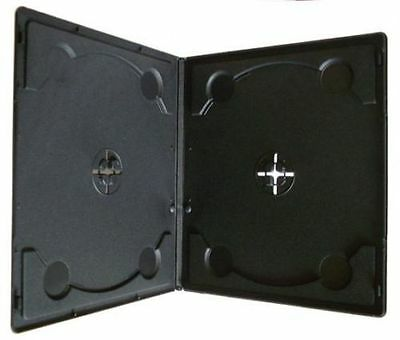 200 x 7mm Half Size Slim Double Black DVD Case Cases Clear Front Cover Sleeve