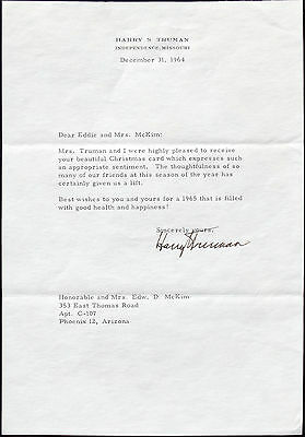 Harry S. Truman 33rd President Of The United States [TLS] Typed Letter Signed