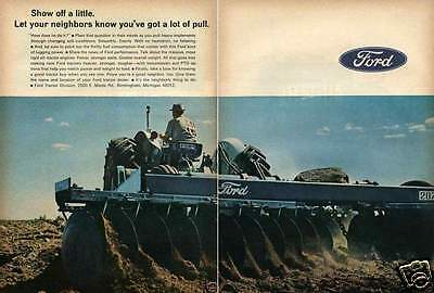 1967 Ford 5000 2 Page Farm Tractor Print Ad with 207 Plow
