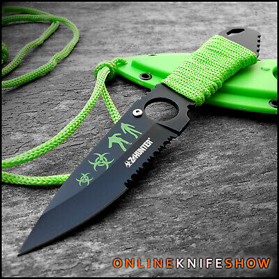 "7"" TACTICAL Z-HUNTER Neck Knife Fixed Blade Survival Hunting ZOMBIE BOWIE Sheath"