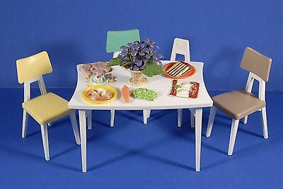 """Vintage DELUXE READING DREAM KITCHEN TABLE & CHAIRS 1960s Barbie Size 12"""" Doll"""