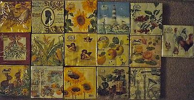 16 SEALED PACKAGES OF NAPKINS DIFFERENT DESIGNS 320 NAPKINS IN TOTAL DECOUPAGE