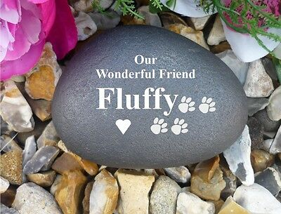 Dog Memorial Pebble - Stone Effect - Personalised - Paw Print Design