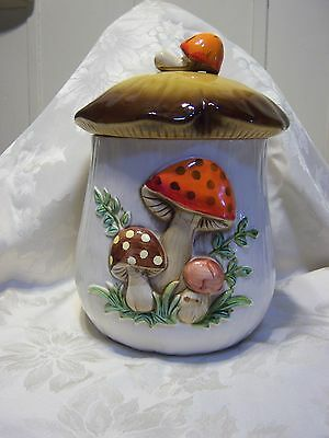 Vintage Merry Mushroom Sears Large Canister Cookie Jar 1970s Kitchen Collection