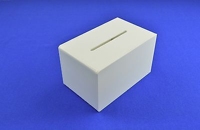 Small Suggestion / Collection / Ballot Box Lockable in White Acrylic - BB0006