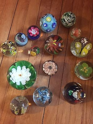 15 Vintage Glass Paperweights Not Signed, Flower Design, Butterflys, Wholesale