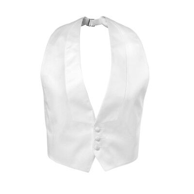 New Men's S M L XL White Satin Tuxedo Tux Vest Bow low cut  Open back adjustable