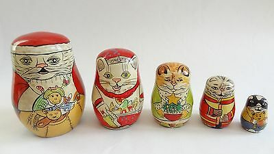 LOT OF 5 WOODEN CHRISTMAS SANTA CLAUS CAT NESTING DOLLS by AUTHENTIC MODELS