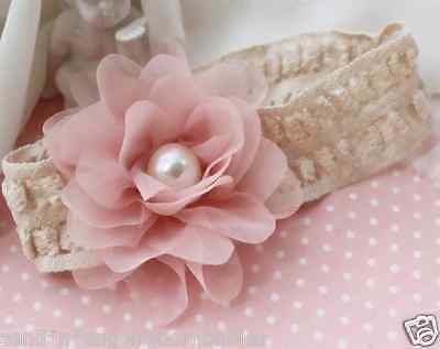 VINTAGE STYLE Lace Headband with Flower and Pearl for Reborn Baby or Newborn