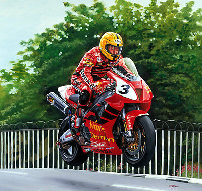 Joey Dunlop Honda VTR SP1 Isle of Man TT Motorcycle Racing Motorbike Art Print