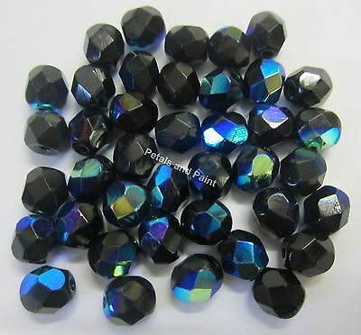40 Fire Polished 6mm Faceted Glass Beads Gutermann Czech Bead Black AB 1000