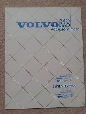 Volvo 340/360 1985 MY Accessory Prices Booklet NEW