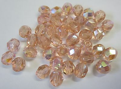 40 Fire Polished 6mm Faceted Glass Beads Gutermann Czech Bead Salmon AB Col 4985