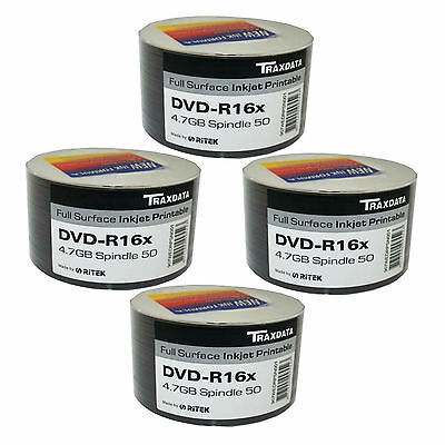 200 Pack Traxdata Dvd-R 16X Speed Full Face Inkjet Printable 4.75Gb Blank Discs