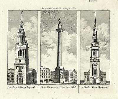 Antique map, The Monument / St. Mary le Bow / St. Brides