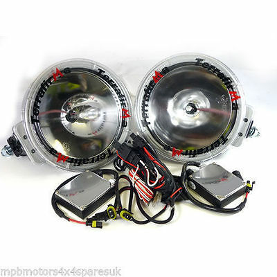 "TERRAFIRMA 8"" HALOGEN SPOT LAMPS LIGHTS WITH WIRING & BULBS LAND ROVER 4x4 TF702"