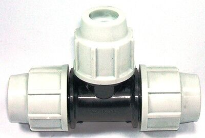 Plasson 32Mm Mdpe Compression Water Pipe Equal Tee 7040 (Ss)
