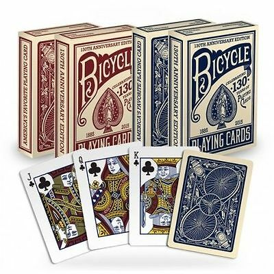 Set of 2 Bicycle 130th Anniversary Poker Playing Card Decks Red & Blue New