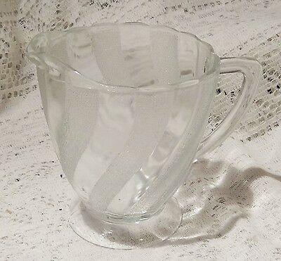 """VINTAGE MID-20TH CENTURY JEANNETTE GLASS CLEAR / FROSTED PITCHER - 5"""" TALL"""