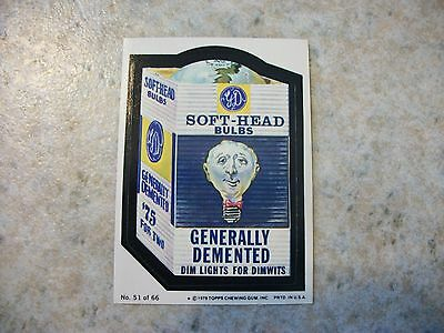 Vintage Topps Wacky Package Sticker Trading Card #51-Soft-Head Bulbs,Puzzle Back