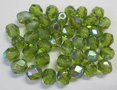 40 Fire Polished 6mm Faceted Glass Beads Gutermann Czech Bead Green AB Col 8320