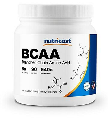 Nutricost BCAA Powder 90 Servings (Unflavored) - 6000mg Per Serving