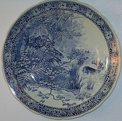 Vintage Charger Classic Stag Hunt Scene by Boch for Royal Sphinx Delfts Holland