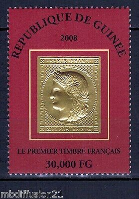 2008//GUINEE//TIMBRE NEUF(OR)**//1er TIMBRE FRANCAIS-TYPE CERES//Y/T N°3386
