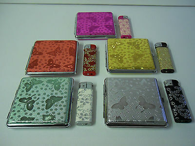 New Butterfly Design Kingsize Cigarette Case & Sparkly Lighter 5 Colours