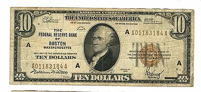 1929 $10 Dollar Fed. Reserve Boston Brown Seal 184A