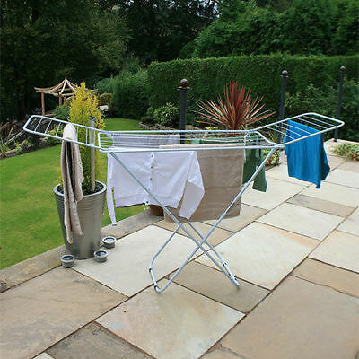 18m Foldable Laundry Cloths Airer Dryer Washing Line Indoor Metal Rack Horse