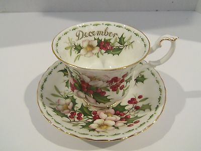 Royal Albert DECEMBER Christmas Rose Flower Of The Month Tea Cup Saucer England