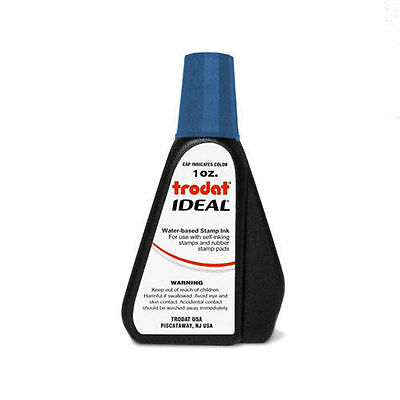 1 oz!!! BLUE Trodat / Ideal Rubber Stamp Refill Ink (for stamps & stamp pads)